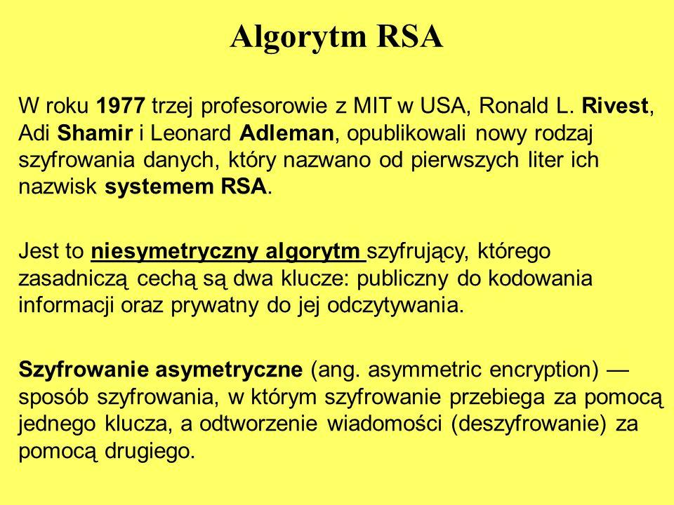 Algorytm RSA W roku 1977 trzej profesorowie z MIT w USA, Ronald L.