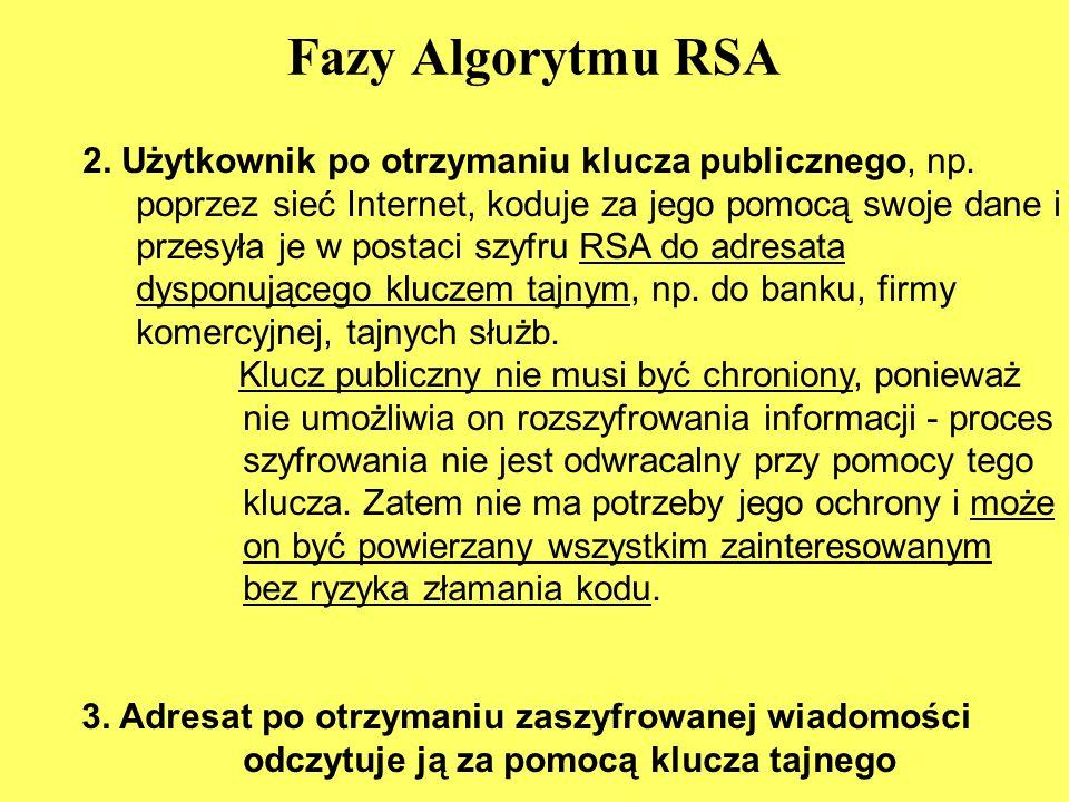 Fazy Algorytmu RSA 2.Użytkownik po otrzymaniu klucza publicznego, np.