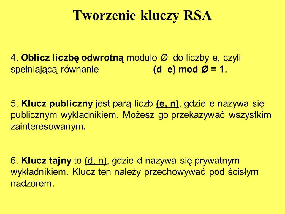 Tworzenie kluczy RSA 4.