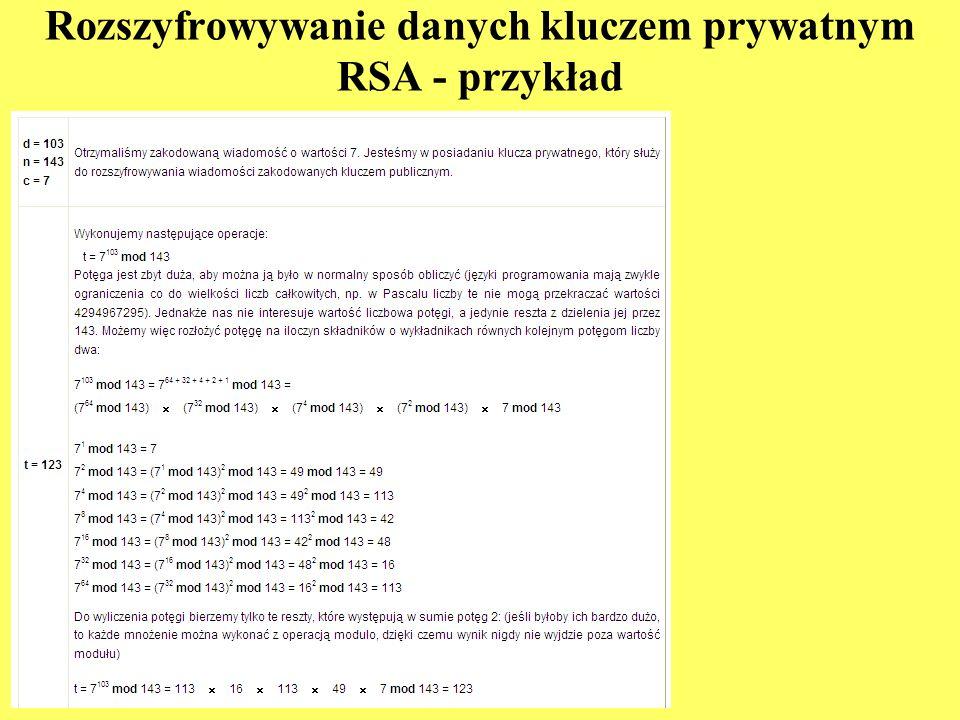 Rozszyfrowywanie danych kluczem prywatnym RSA - przykład
