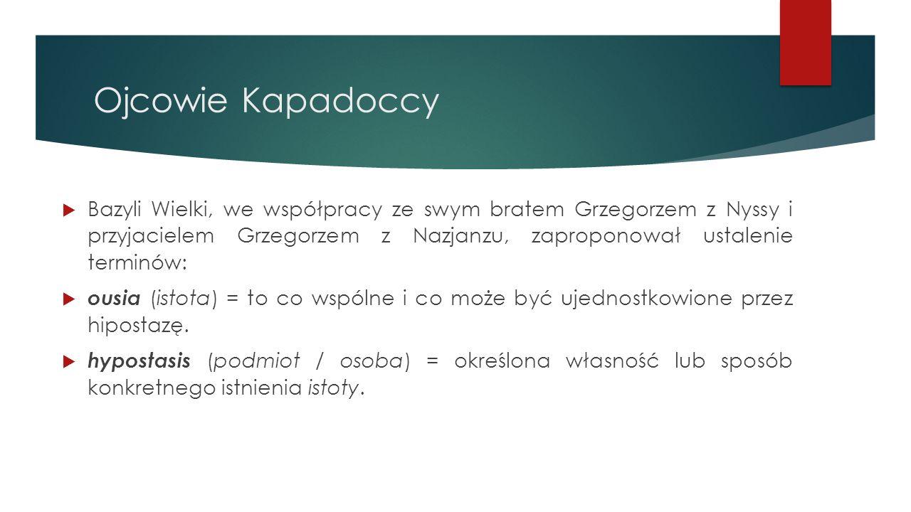 Ojcowie Kapadoccy  Bazyli Wielki, we współpracy ze swym bratem Grzegorzem z Nyssy i przyjacielem Grzegorzem z Nazjanzu, zaproponował ustalenie termin