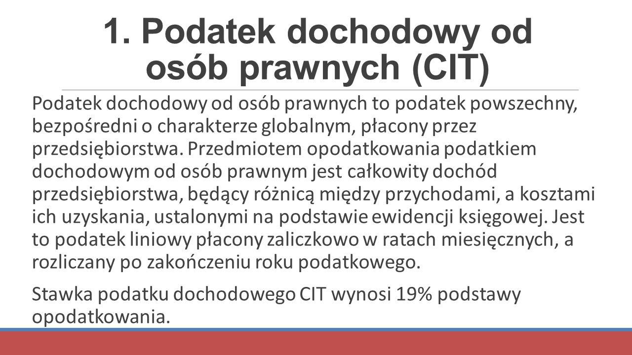 1. Podatek dochodowy od osób prawnych (CIT) Podatek dochodowy od osób prawnych to podatek powszechny, bezpośredni o charakterze globalnym, płacony prz