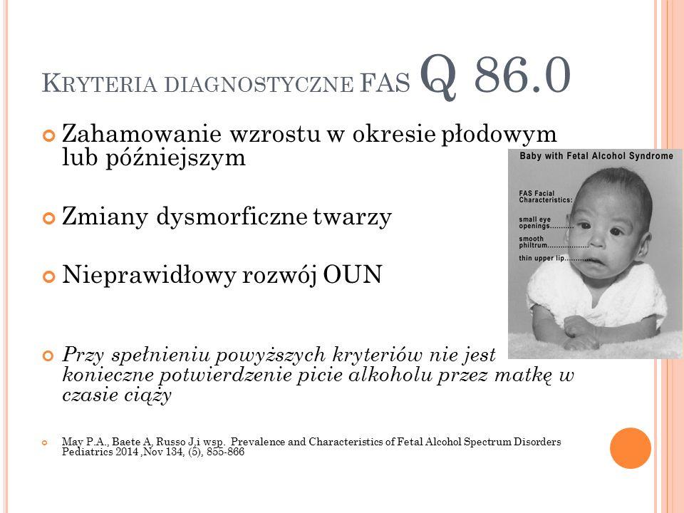 K RYTERIA DIAGNOSTYCZNE FAS Q 86.0 Zahamowanie wzrostu w okresie płodowym lub późniejszym Zmiany dysmorficzne twarzy Nieprawidłowy rozwój OUN Przy spełnieniu powyższych kryteriów nie jest konieczne potwierdzenie picie alkoholu przez matkę w czasie ciąży May P.A., Baete A, Russo J,i wsp.