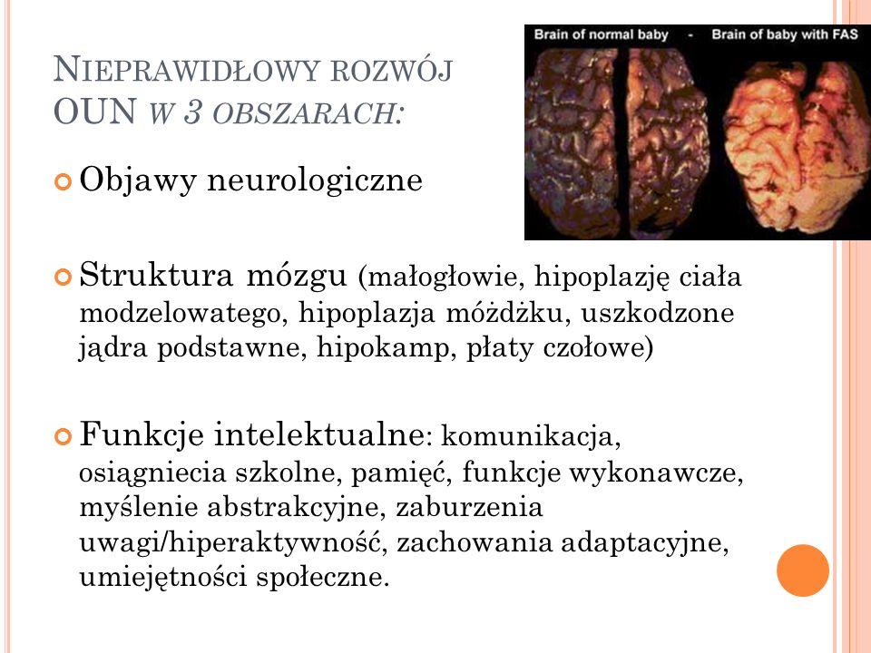 N IEPRAWIDŁOWY ROZWÓJ OUN W 3 OBSZARACH : Objawy neurologiczne Struktura mózgu (małogłowie, hipoplazję ciała modzelowatego, hipoplazja móżdżku, uszkodzone jądra podstawne, hipokamp, płaty czołowe) Funkcje intelektualne : komunikacja, osiągniecia szkolne, pamięć, funkcje wykonawcze, myślenie abstrakcyjne, zaburzenia uwagi/hiperaktywność, zachowania adaptacyjne, umiejętności społeczne.