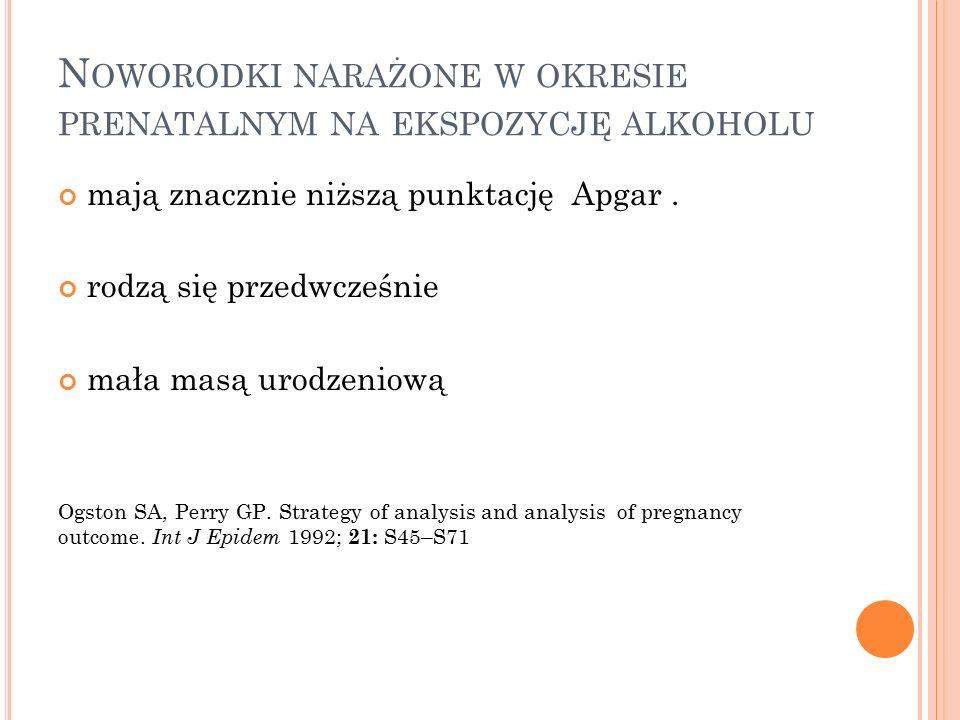 N OWORODKI NARAŻONE W OKRESIE PRENATALNYM NA EKSPOZYCJĘ ALKOHOLU mają znacznie niższą punktację Apgar.