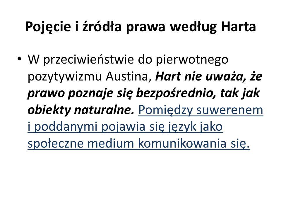 Pojęcie i źródła prawa według Harta W przeciwieństwie do pierwotnego pozytywizmu Austina, Hart nie uważa, że prawo poznaje się bezpośrednio, tak jak obiekty naturalne.