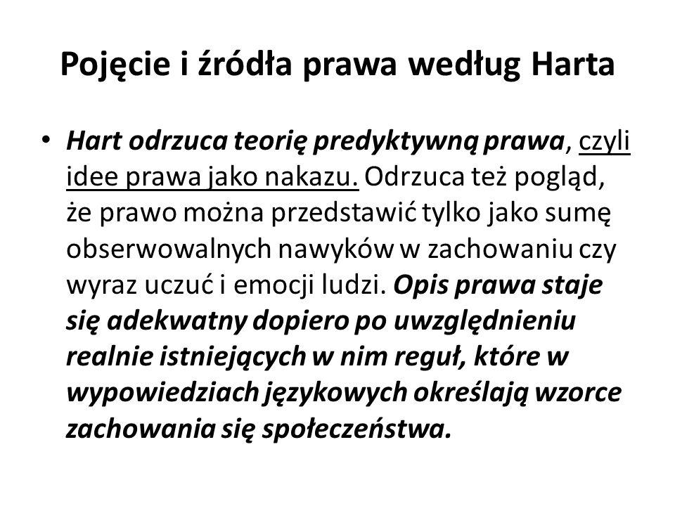Pojęcie i źródła prawa według Harta Hart odrzuca teorię predyktywną prawa, czyli idee prawa jako nakazu.