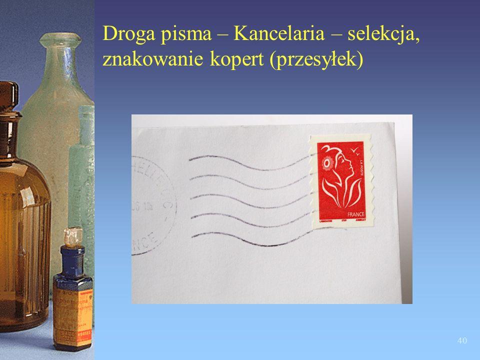 Droga pisma – Kancelaria – dzienniki korespondencyjne i pocztowe książki nadawcze 39