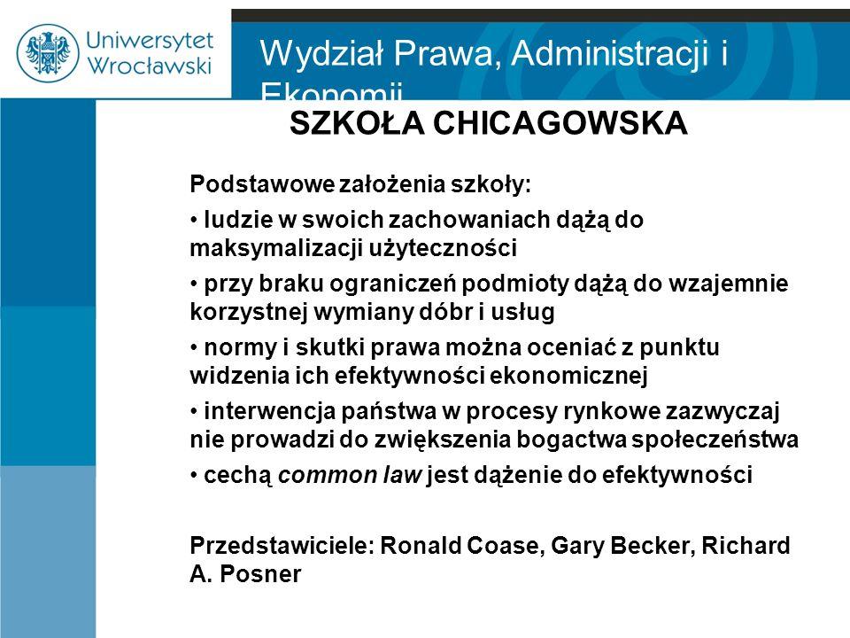 Wydział Prawa, Administracji i Ekonomii SZKOŁA CHICAGOWSKA Podstawowe założenia szkoły: ludzie w swoich zachowaniach dążą do maksymalizacji użytecznoś