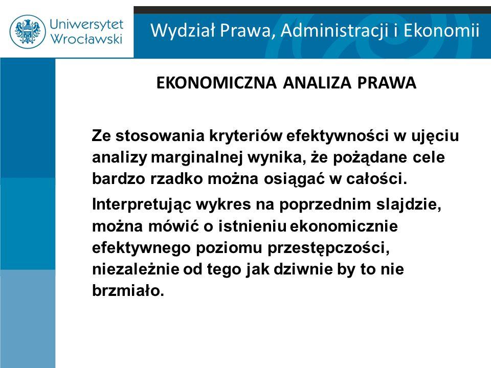 Wydział Prawa, Administracji i Ekonomii EKONOMICZNA ANALIZA PRAWA Ze stosowania kryteriów efektywności w ujęciu analizy marginalnej wynika, że pożądan