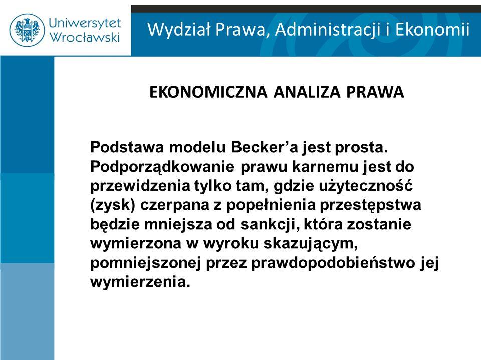 Wydział Prawa, Administracji i Ekonomii EKONOMICZNA ANALIZA PRAWA Podstawa modelu Becker'a jest prosta. Podporządkowanie prawu karnemu jest do przewid