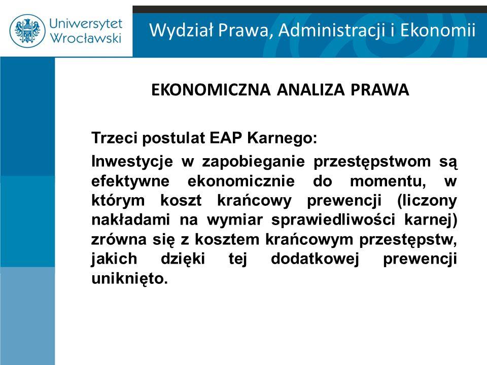 Wydział Prawa, Administracji i Ekonomii EKONOMICZNA ANALIZA PRAWA Trzeci postulat EAP Karnego: Inwestycje w zapobieganie przestępstwom są efektywne ek