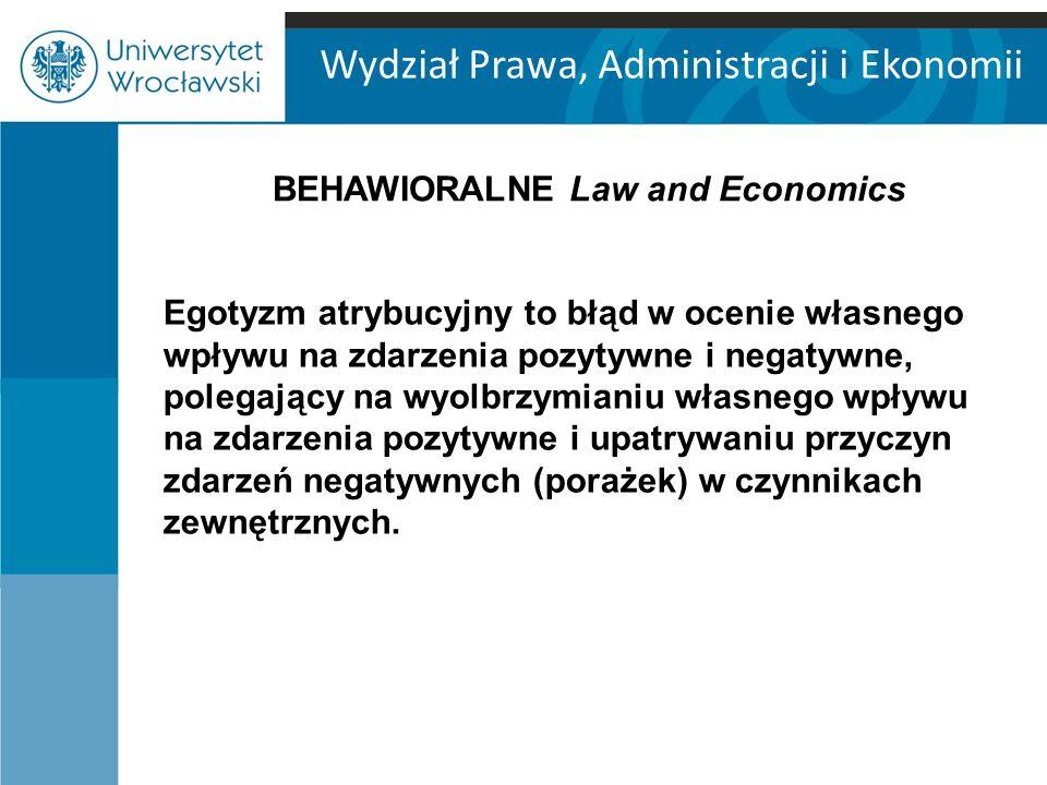 Wydział Prawa, Administracji i Ekonomii Egotyzm atrybucyjny to błąd w ocenie własnego wpływu na zdarzenia pozytywne i negatywne, polegający na wyolbrzymianiu własnego wpływu na zdarzenia pozytywne i upatrywaniu przyczyn zdarzeń negatywnych (porażek) w czynnikach zewnętrznych.