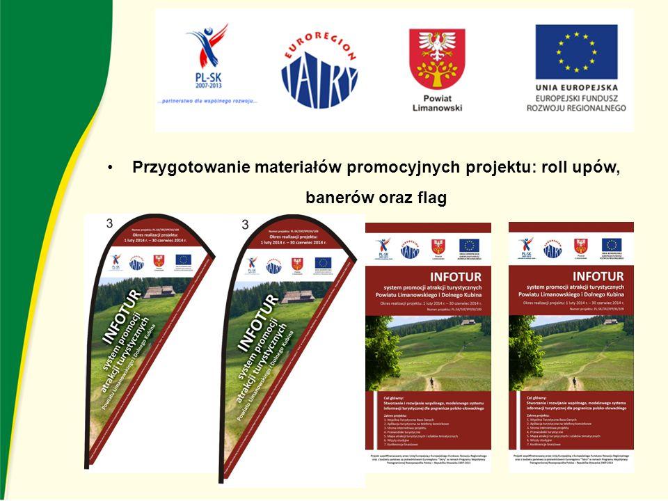 Przygotowanie materiałów promocyjnych projektu: roll upów, banerów oraz flag