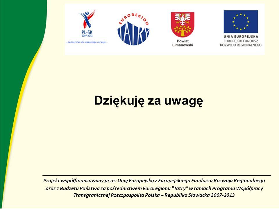 Projekt współfinansowany przez Unię Europejską z Europejskiego Funduszu Rozwoju Regionalnego oraz z Budżetu Państwa za pośrednictwem Euroregionu Tatry w ramach Programu Współpracy Transgranicznej Rzeczpospolita Polska – Republika Słowacka 2007-2013 Dziękuję za uwagę