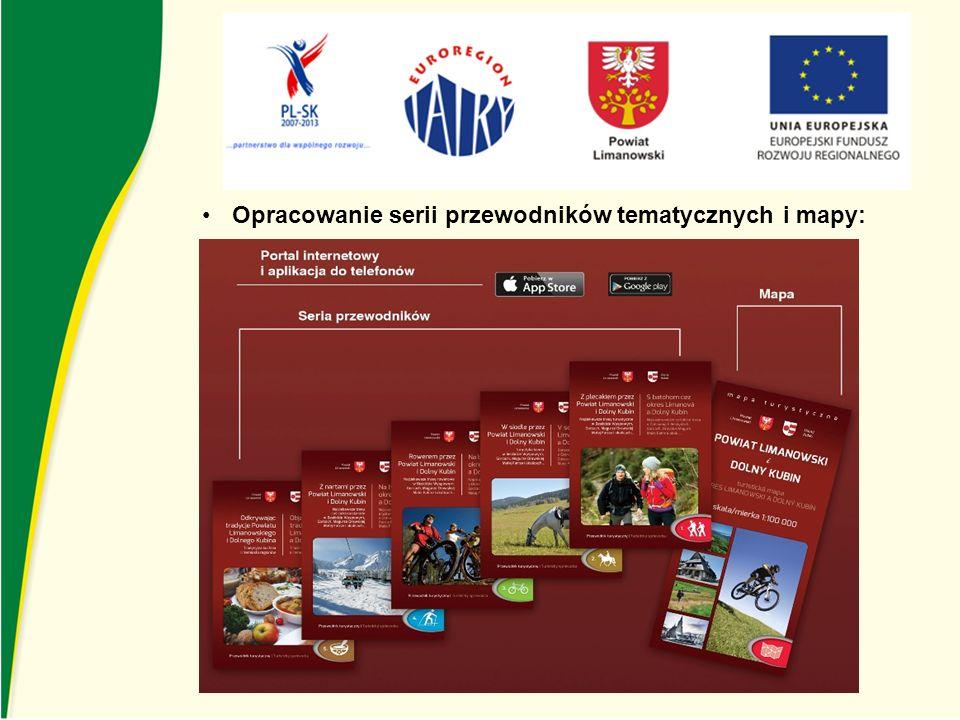 Druk mapy i przewodników z zaznaczonymi szlakami rowerowymi i pieszymi oraz z atrakcjami Powiatu Limanowskiego i Dolnego Kubina Nakład 2 000 szt.