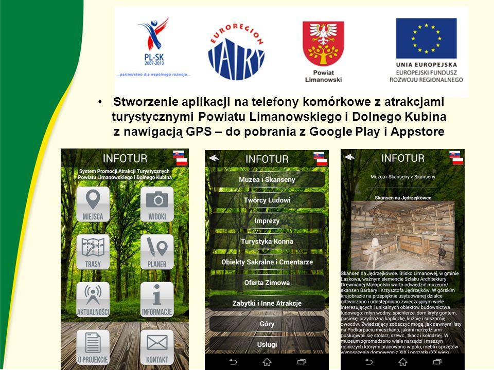 Stworzenie aplikacji na telefony komórkowe z atrakcjami turystycznymi Powiatu Limanowskiego i Dolnego Kubina z nawigacją GPS – do pobrania z Google Play i Appstore