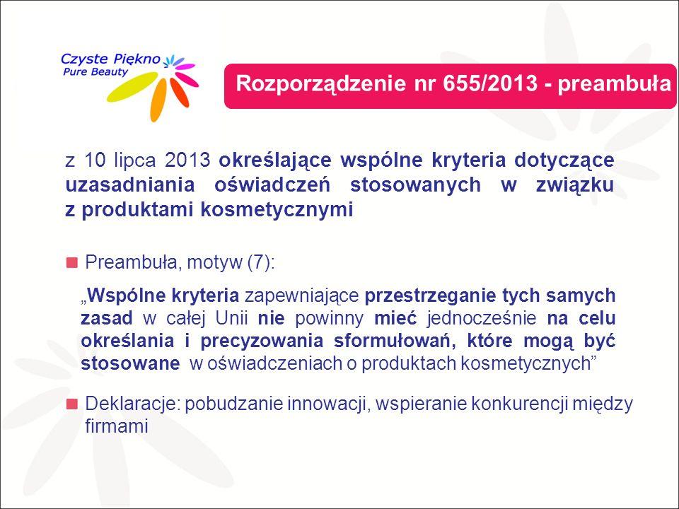 """Preambuła, motyw (7): Deklaracje: pobudzanie innowacji, wspieranie konkurencji między firmami Rozporządzenie nr 655/2013 - preambuła """"Wspólne kryteria zapewniające przestrzeganie tych samych zasad w całej Unii nie powinny mieć jednocześnie na celu określania i precyzowania sformułowań, które mogą być stosowane w oświadczeniach o produktach kosmetycznych z 10 lipca 2013 określające wspólne kryteria dotyczące uzasadniania oświadczeń stosowanych w związku z produktami kosmetycznymi"""