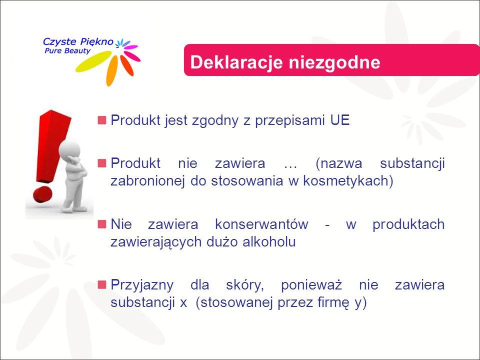 Produkt jest zgodny z przepisami UE Produkt nie zawiera … (nazwa substancji zabronionej do stosowania w kosmetykach) Nie zawiera konserwantów - w produktach zawierających dużo alkoholu Przyjazny dla skóry, ponieważ nie zawiera substancji x (stosowanej przez firmę y) Deklaracje niezgodne