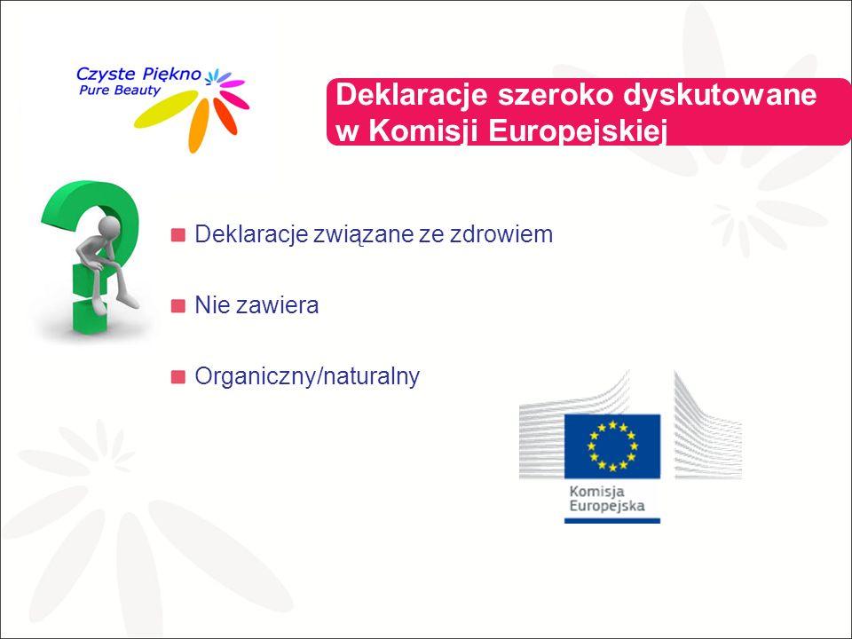 Deklaracje związane ze zdrowiem Nie zawiera Organiczny/naturalny Deklaracje szeroko dyskutowane w Komisji Europejskiej