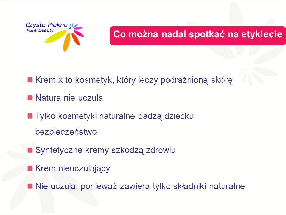 Co można nadal spotkać na etykiecie Krem x to kosmetyk, który leczy podrażnioną skórę Natura nie uczula Tylko kosmetyki naturalne dadzą dziecku bezpieczeństwo Syntetyczne kremy szkodzą zdrowiu Krem nieuczulający Nie uczula, ponieważ zawiera tylko składniki naturalne