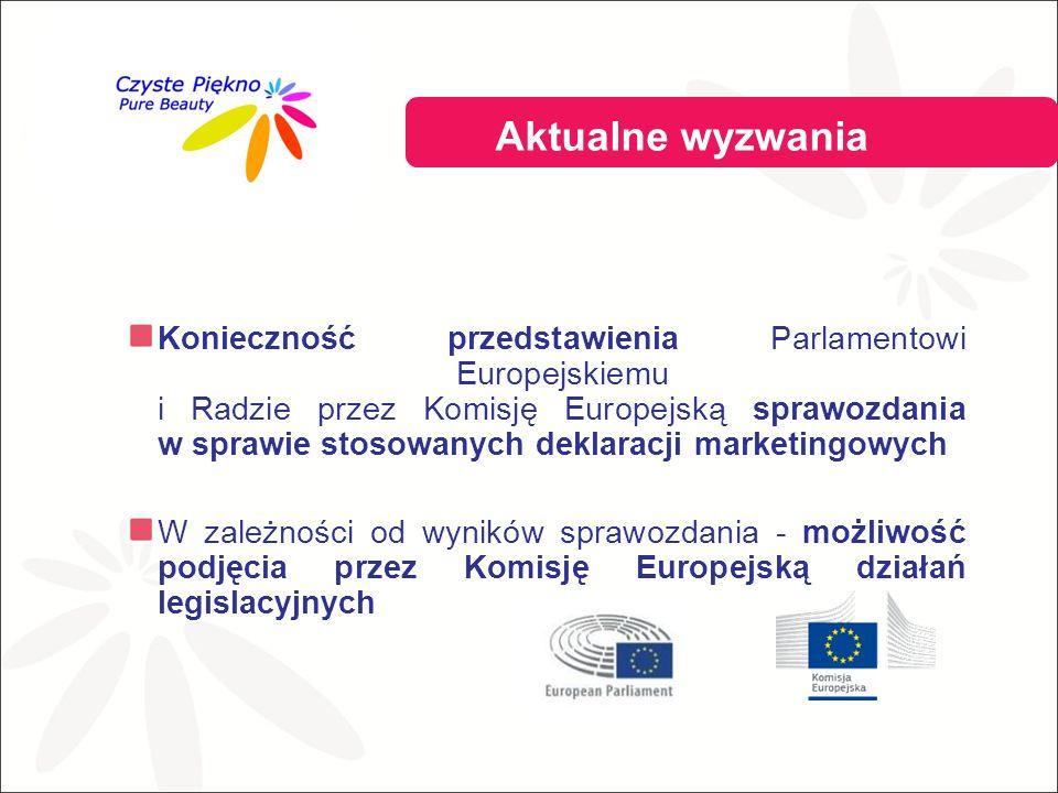 Konieczność przedstawienia Parlamentowi Europejskiemu i Radzie przez Komisję Europejską sprawozdania w sprawie stosowanych deklaracji marketingowych W zależności od wyników sprawozdania - możliwość podjęcia przez Komisję Europejską działań legislacyjnych Aktualne wyzwania przemysłu