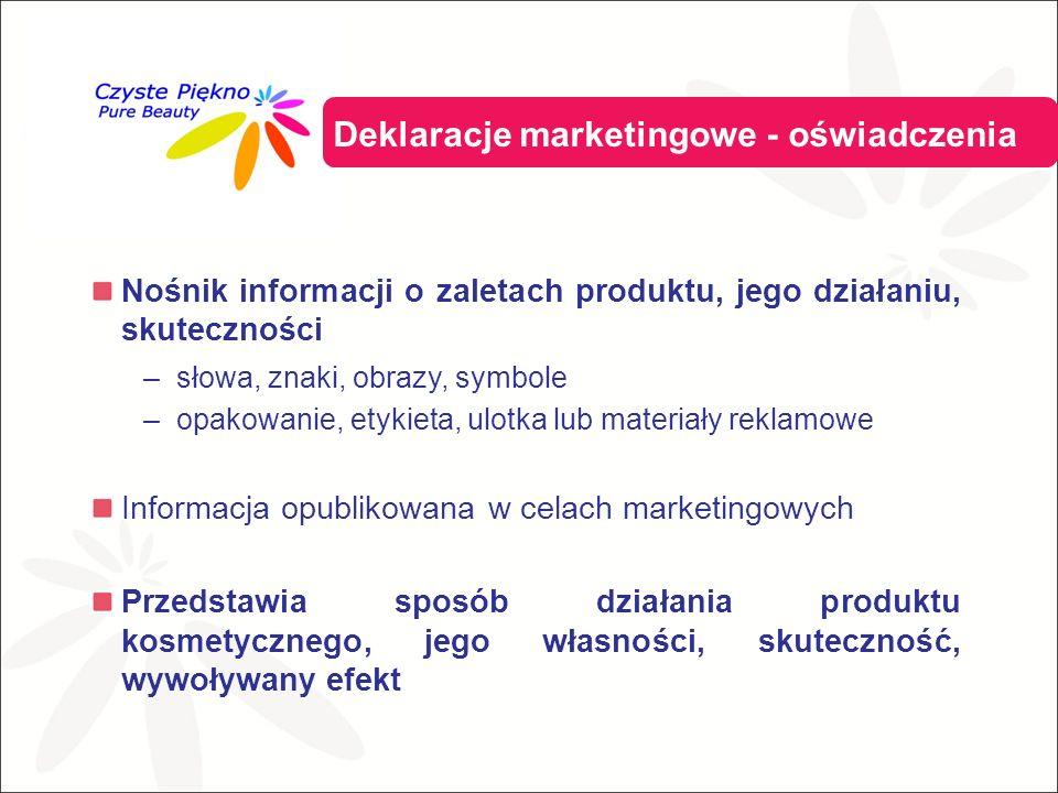 Nośnik informacji o zaletach produktu, jego działaniu, skuteczności –słowa, znaki, obrazy, symbole –opakowanie, etykieta, ulotka lub materiały reklamowe Informacja opublikowana w celach marketingowych Przedstawia sposób działania produktu kosmetycznego, jego własności, skuteczność, wywoływany efekt Deklaracje marketingowe - oświadczenia