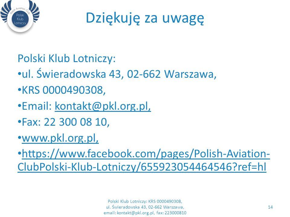 Dziękuję za uwagę Polski Klub Lotniczy: ul.
