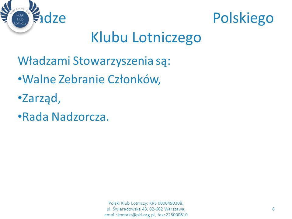 Władze Polskiego Klubu Lotniczego Władzami Stowarzyszenia są: Walne Zebranie Członków, Zarząd, Rada Nadzorcza.