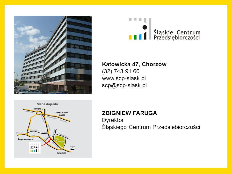 Katowicka 47, Chorzów (32) 743 91 60 www.scp-slask.pl scp@scp-slask.pl ZBIGNIEW FARUGA Dyrektor Śląskiego Centrum Przedsiębiorczości
