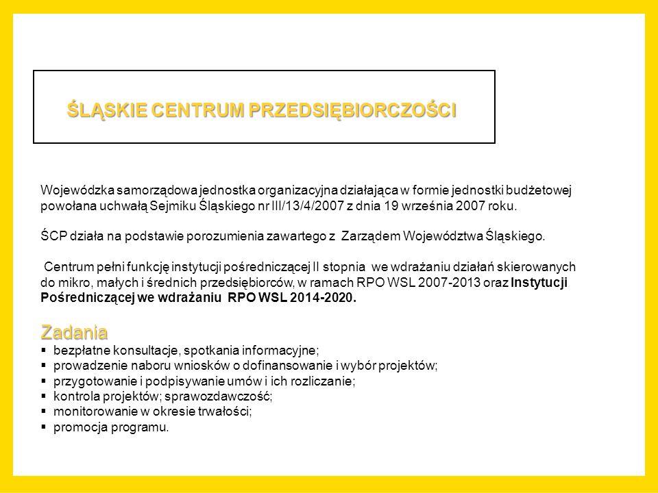 ŚLĄSKIE CENTRUM PRZEDSIĘBIORCZOŚCI Wojewódzka samorządowa jednostka organizacyjna działająca w formie jednostki budżetowej powołana uchwałą Sejmiku Śląskiego nr III/13/4/2007 z dnia 19 września 2007 roku.