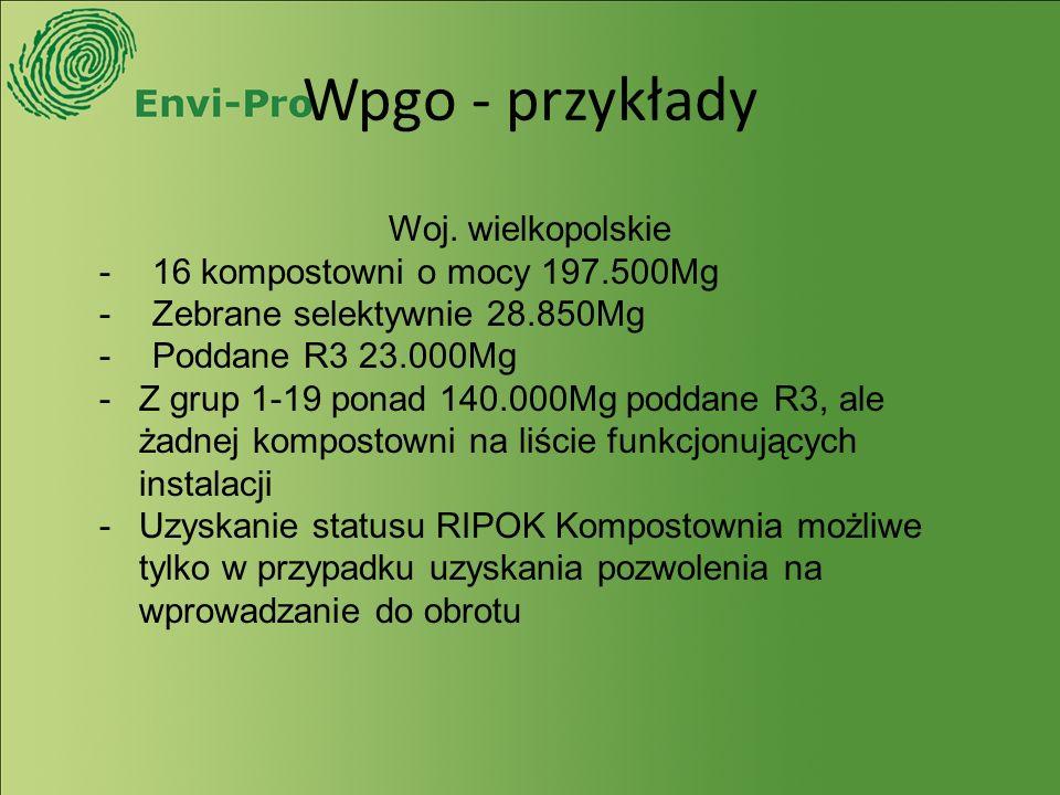 Wpgo - przykłady Woj. wielkopolskie -16 kompostowni o mocy 197.500Mg -Zebrane selektywnie 28.850Mg -Poddane R3 23.000Mg -Z grup 1-19 ponad 140.000Mg p