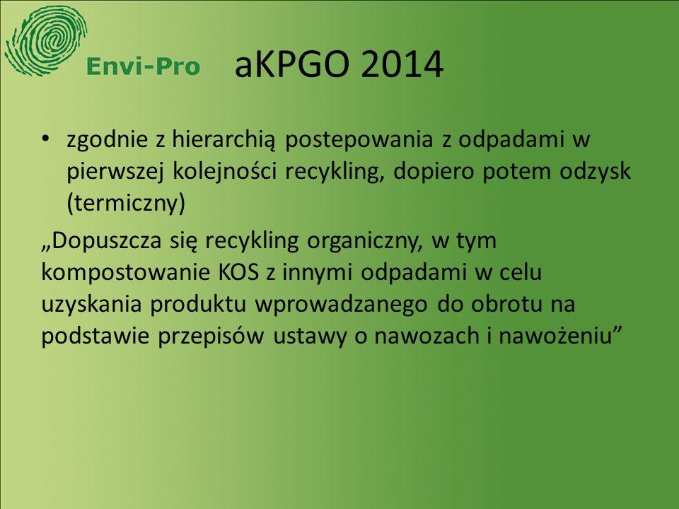 """aKPGO 2014 zgodnie z hierarchią postepowania z odpadami w pierwszej kolejności recykling, dopiero potem odzysk (termiczny) """"Dopuszcza się recykling organiczny, w tym kompostowanie KOS z innymi odpadami w celu uzyskania produktu wprowadzanego do obrotu na podstawie przepisów ustawy o nawozach i nawożeniu"""