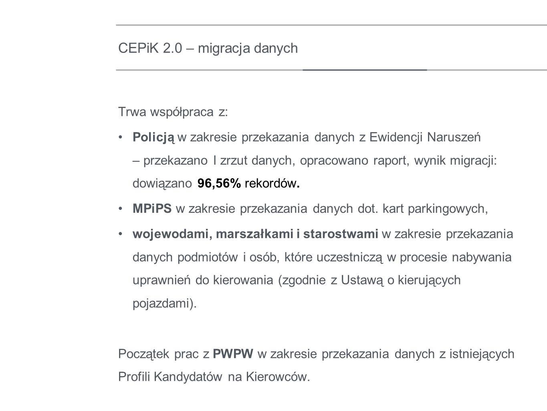 Trwa współpraca z: Policją w zakresie przekazania danych z Ewidencji Naruszeń – przekazano I zrzut danych, opracowano raport, wynik migracji: dowiązan