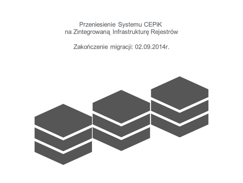 Przeniesienie Systemu CEPiK na Zintegrowaną Infrastrukturę Rejestrów Zakończenie migracji: 02.09.2014r.