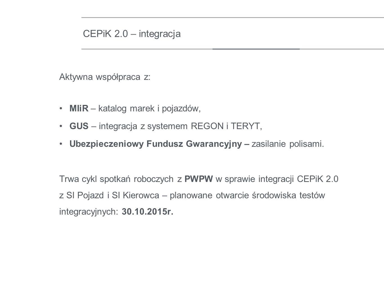 Aktywna współpraca z: MIiR – katalog marek i pojazdów, GUS – integracja z systemem REGON i TERYT, Ubezpieczeniowy Fundusz Gwarancyjny – zasilanie poli
