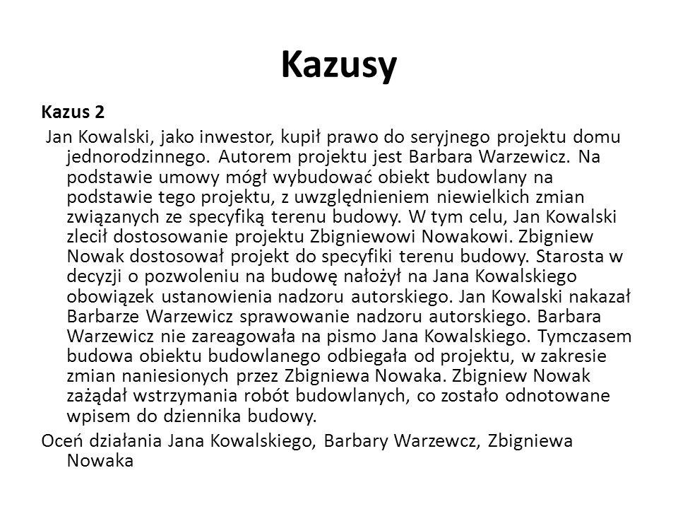 Kazusy Kazus 2 Jan Kowalski, jako inwestor, kupił prawo do seryjnego projektu domu jednorodzinnego. Autorem projektu jest Barbara Warzewicz. Na podsta