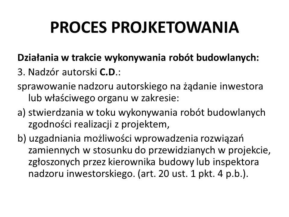 PROCES PROJKETOWANIA Działania w trakcie wykonywania robót budowlanych: 3. Nadzór autorski C.D.: sprawowanie nadzoru autorskiego na żądanie inwestora