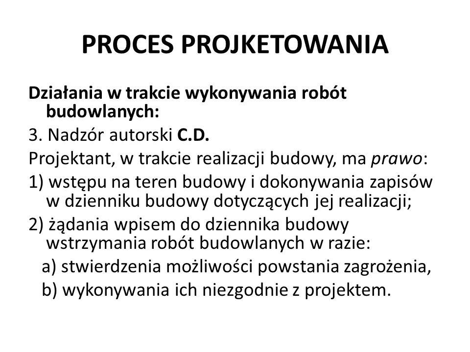 PROCES PROJKETOWANIA Działania w trakcie wykonywania robót budowlanych: 3. Nadzór autorski C.D. Projektant, w trakcie realizacji budowy, ma prawo: 1)