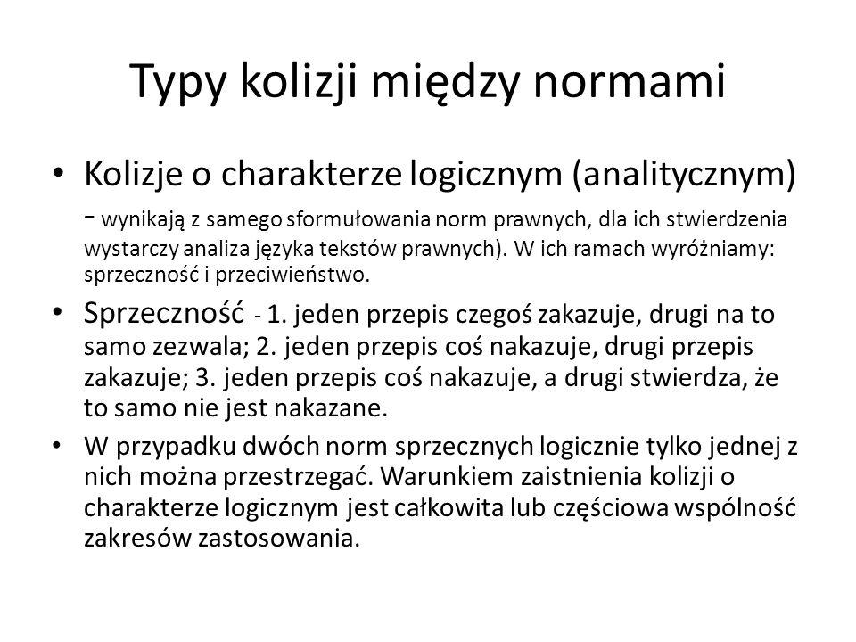 Typy kolizji między normami Kolizje o charakterze logicznym (analitycznym) - wynikają z samego sformułowania norm prawnych, dla ich stwierdzenia wysta