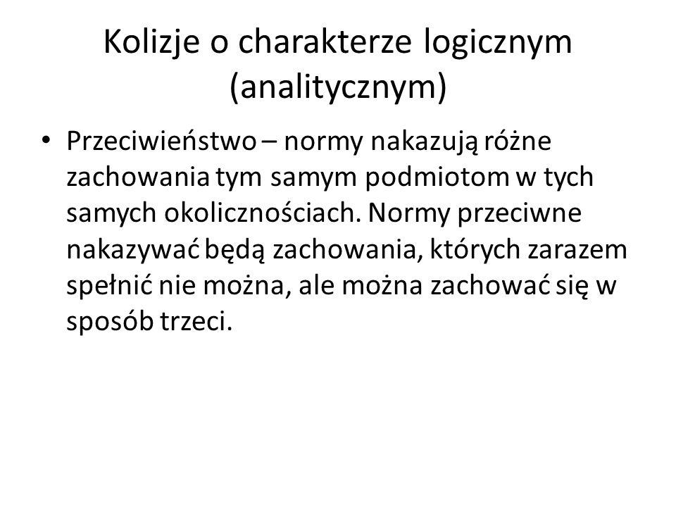 Kolizje o charakterze logicznym (analitycznym) Przeciwieństwo – normy nakazują różne zachowania tym samym podmiotom w tych samych okolicznościach. Nor