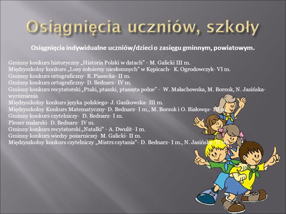 Osiągnięcia indywidualne uczniów/dzieci o zasięgu gminnym, powiatowym.