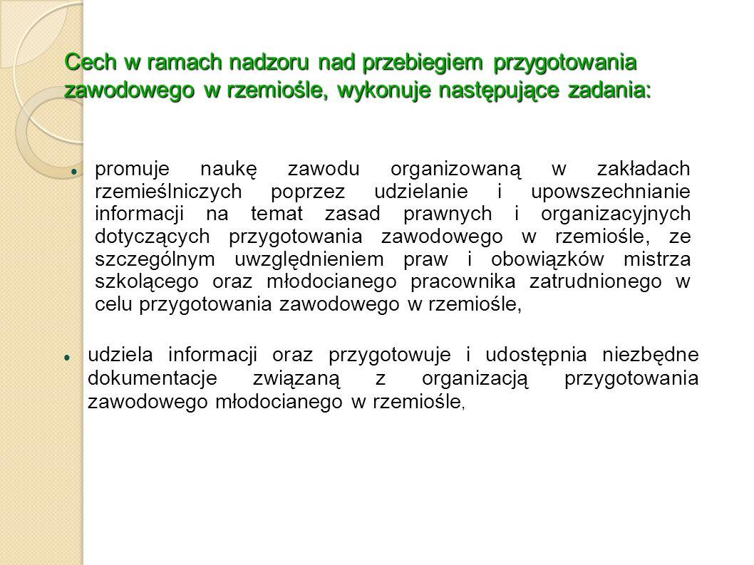 Cech w ramach nadzoru nad przebiegiem przygotowania zawodowego w rzemiośle, wykonuje następujące zadania: promuje naukę zawodu organizowaną w zakładac