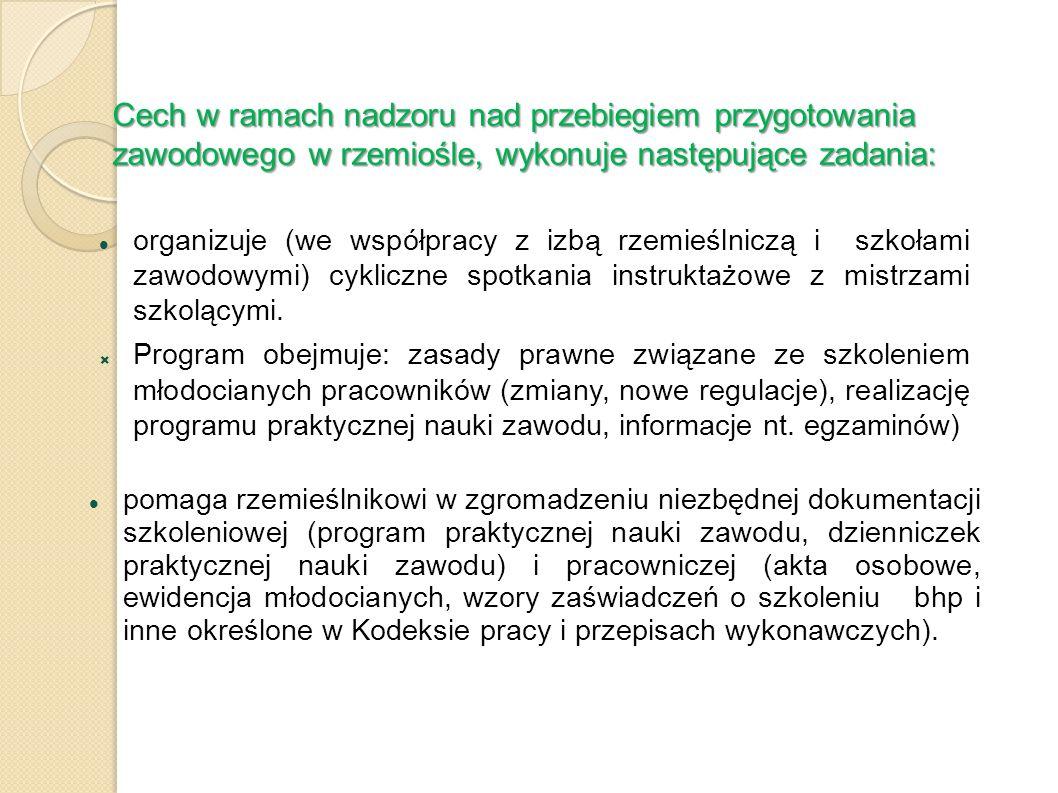 Cech w ramach nadzoru nad przebiegiem przygotowania zawodowego w rzemiośle, wykonuje następujące zadania: organizuje (we współpracy z izbą rzemieślnic