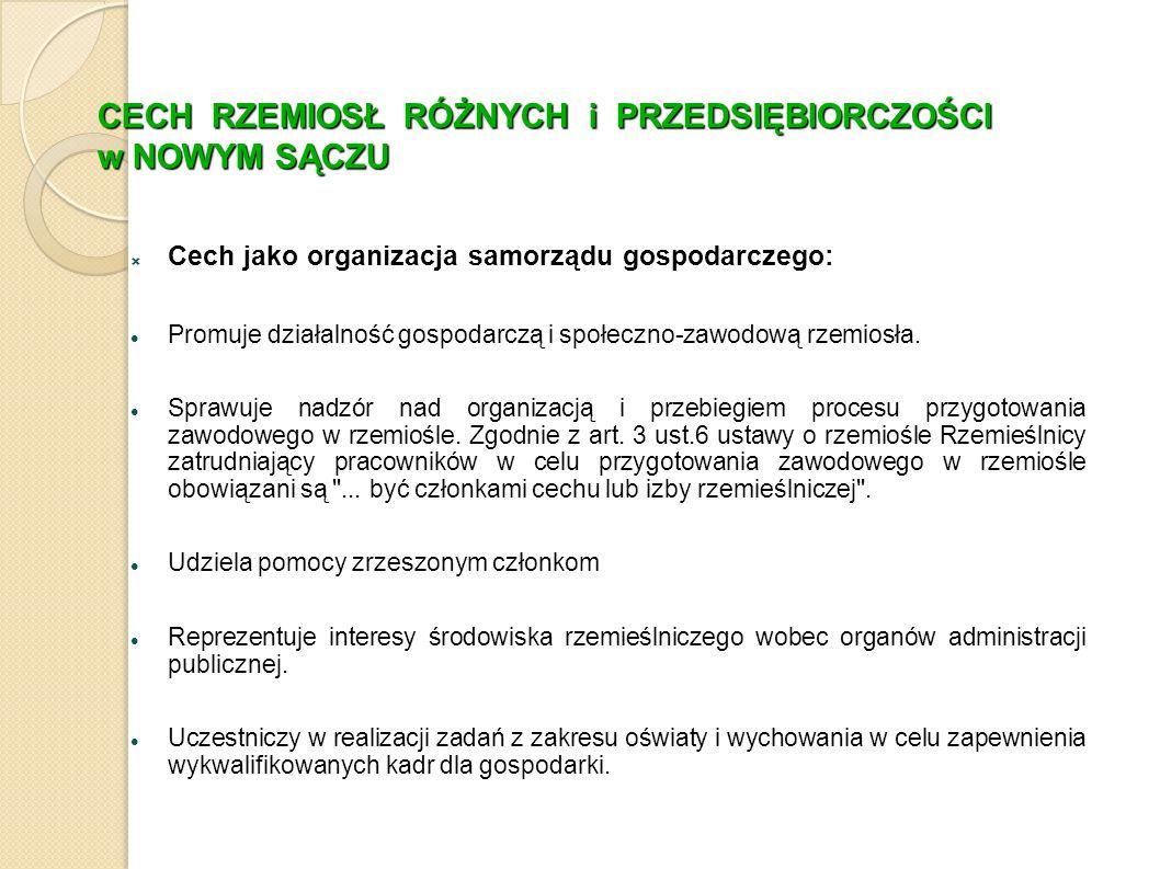 CECH RZEMIOSŁ RÓŻNYCH i PRZEDSIĘBIORCZOŚCI w NOWYM SĄCZU  Cech jako organizacja samorządu gospodarczego: Promuje działalność gospodarczą i społeczno-zawodową rzemiosła.