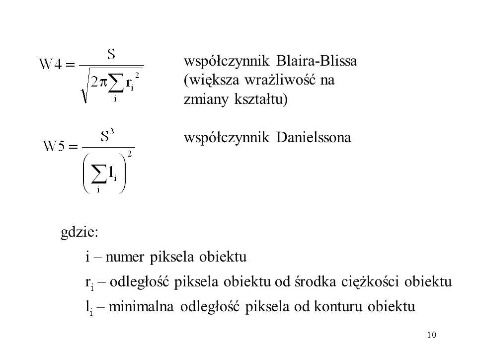 10 współczynnik Blaira-Blissa (większa wrażliwość na zmiany kształtu) współczynnik Danielssona gdzie: i – numer piksela obiektu r i – odległość piksela obiektu od środka ciężkości obiektu l i – minimalna odległość piksela od konturu obiektu