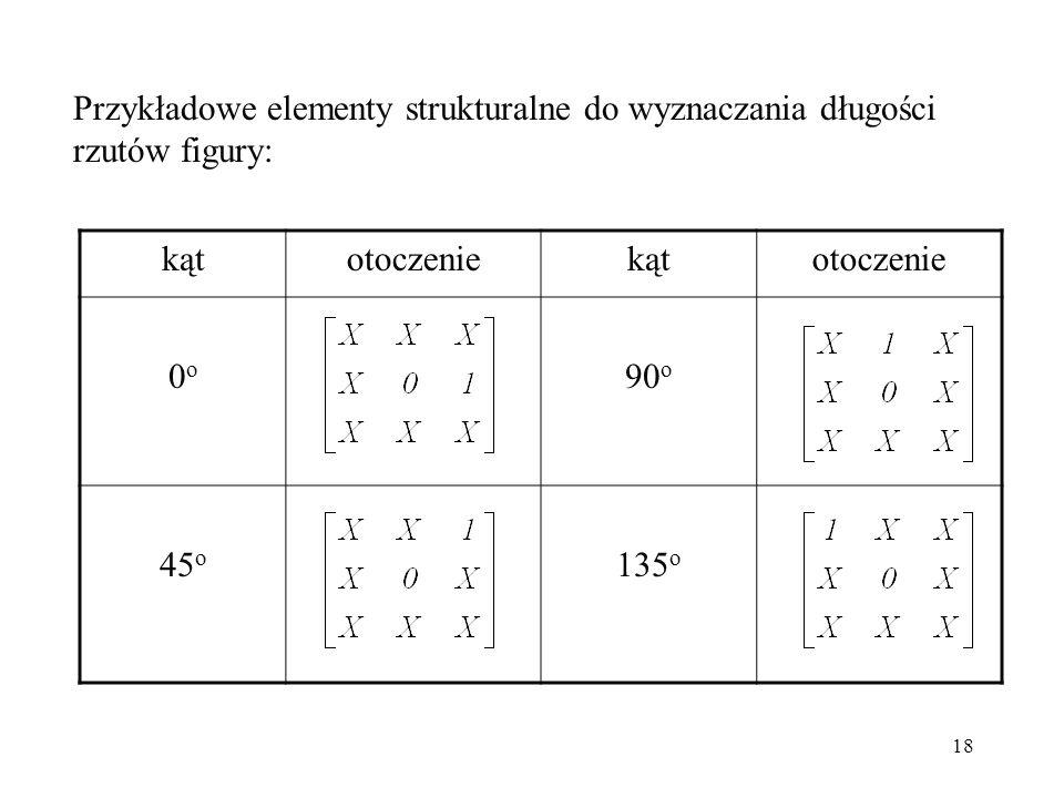 18 Przykładowe elementy strukturalne do wyznaczania długości rzutów figury: kątotoczeniekątotoczenie 0o0o 90 o 45 o 135 o