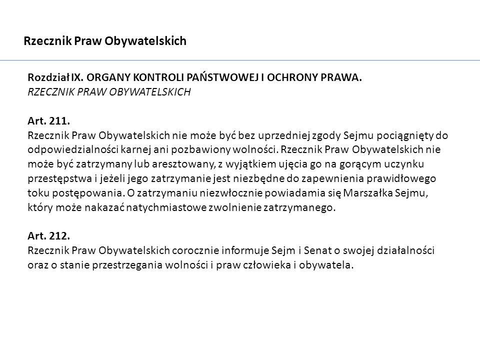 Rzecznik Praw Obywatelskich Rozdział IX. ORGANY KONTROLI PAŃSTWOWEJ I OCHRONY PRAWA.
