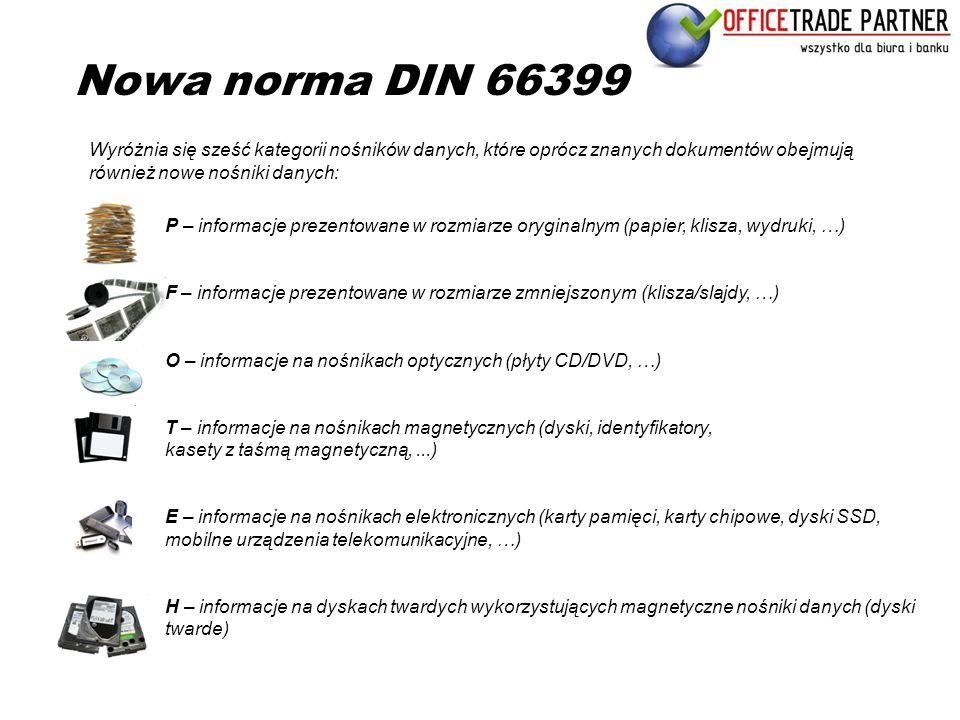 Nowa norma DIN 66399 P – informacje prezentowane w rozmiarze oryginalnym (papier, klisza, wydruki, …) F – informacje prezentowane w rozmiarze zmniejsz