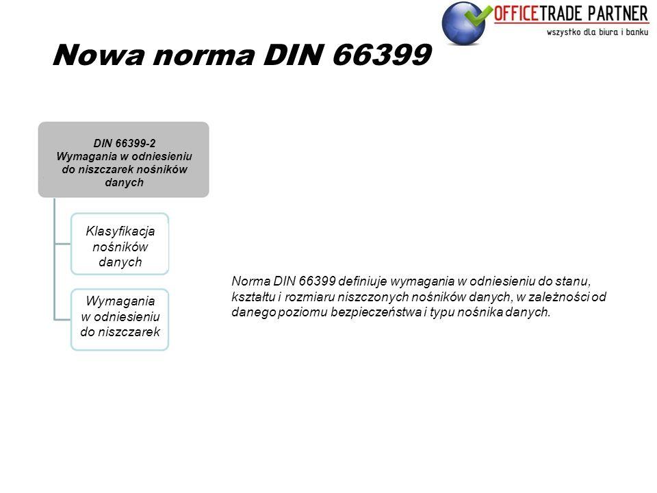 Nowa norma DIN 66399 Norma DIN 66399 definiuje wymagania w odniesieniu do stanu, kształtu i rozmiaru niszczonych nośników danych, w zależności od dane